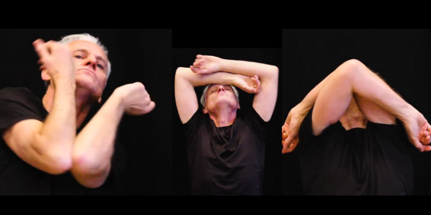 A man's image is repeated three times as he during a dance that focuses on his arms over a black background.