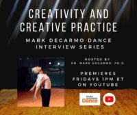Program flyer for M.D.D.'s Interview Series: Creativity and Creative practice. A man leans with arms back and eyes closed in a dance.