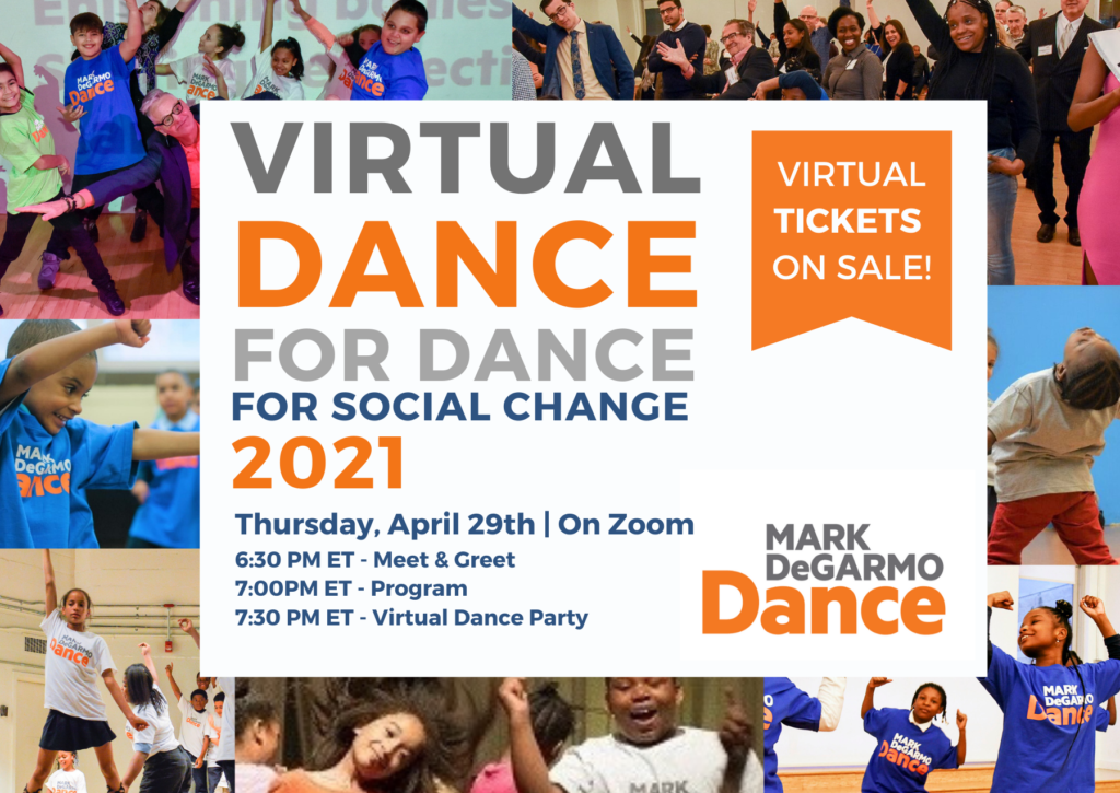 Virtual Dance for Dance for Social Change 2021.  Thursday, April 29th on Zoom. Virtual tickets on sale. 6:30-7:30 PM ET.