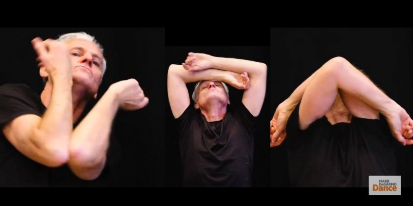 Series of three candid snapshots of Mark DeGarmo dancing and embodying multiple action positions, from Moveable Moments.